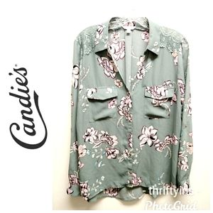 Candie's-Seafoam Green Blouse-Large